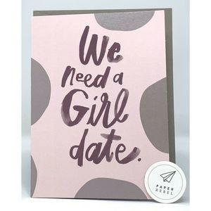 """PAPER REBEL Humor """"GIRL DATE"""" Greeting Card 3 PACK"""